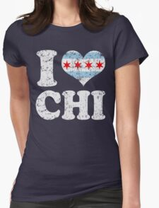 I Heart CHI Chicago Flag Womens Fitted T-Shirt