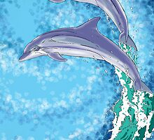 Dolphins Jumping Out of the Water by Juan Alcantara