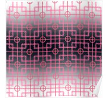 pink squares on a black and white background Poster