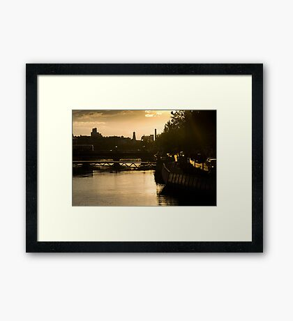 Golden Sunset Over the River Liffey Framed Print