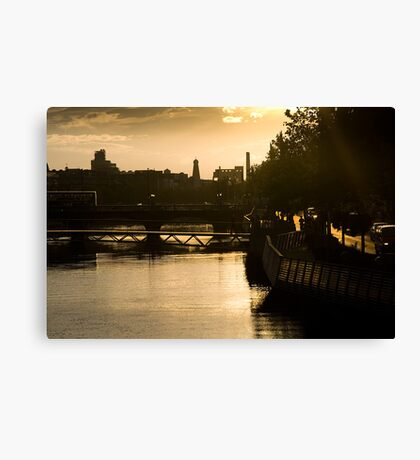 Golden Sunset Over the River Liffey Canvas Print