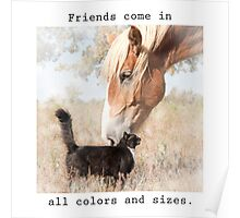 Friends come in all colors and sizes Poster