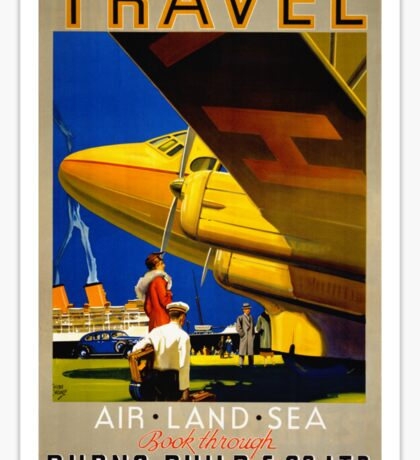 Vintage Travel Poster Restored Sticker