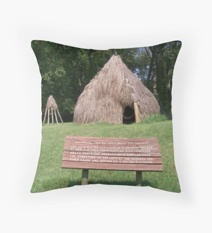 Natchez Indians Home and Granary Throw Pillow