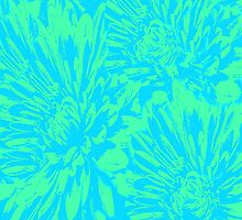 Ocean Blue Floral Abstract by Judy Palkimas