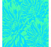 Ocean Blue Floral Abstract Photographic Print