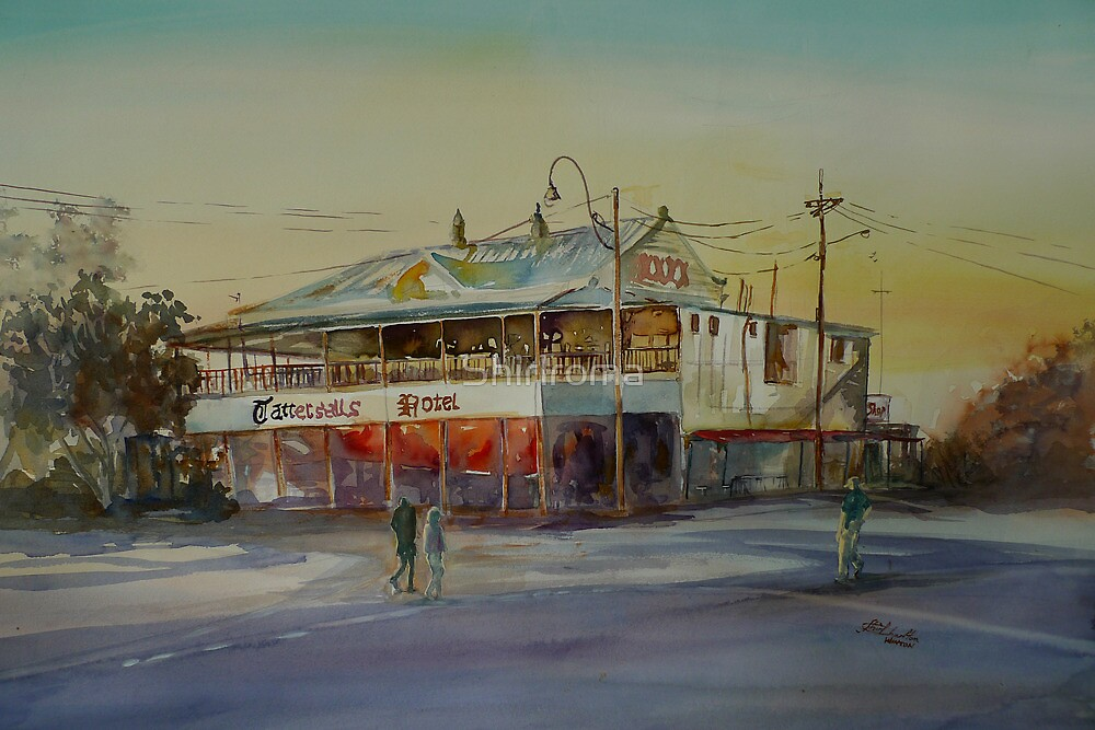 Winton Pub Australian Outback Watercolour by Shirlroma
