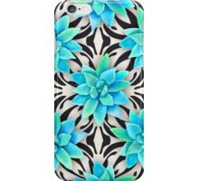 Watercolor succulent pattern on monochrome background iPhone Case/Skin