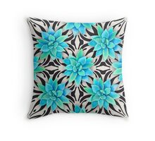 Watercolor succulent pattern on monochrome background Throw Pillow