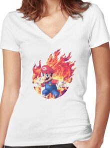 Smash Hype - Mario Women's Fitted V-Neck T-Shirt