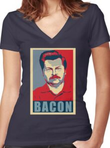 Ron hope swanson  Women's Fitted V-Neck T-Shirt