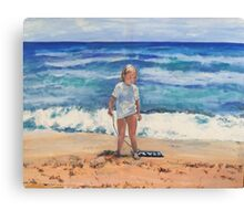 Beach Girl and Her Boggy Board Canvas Print