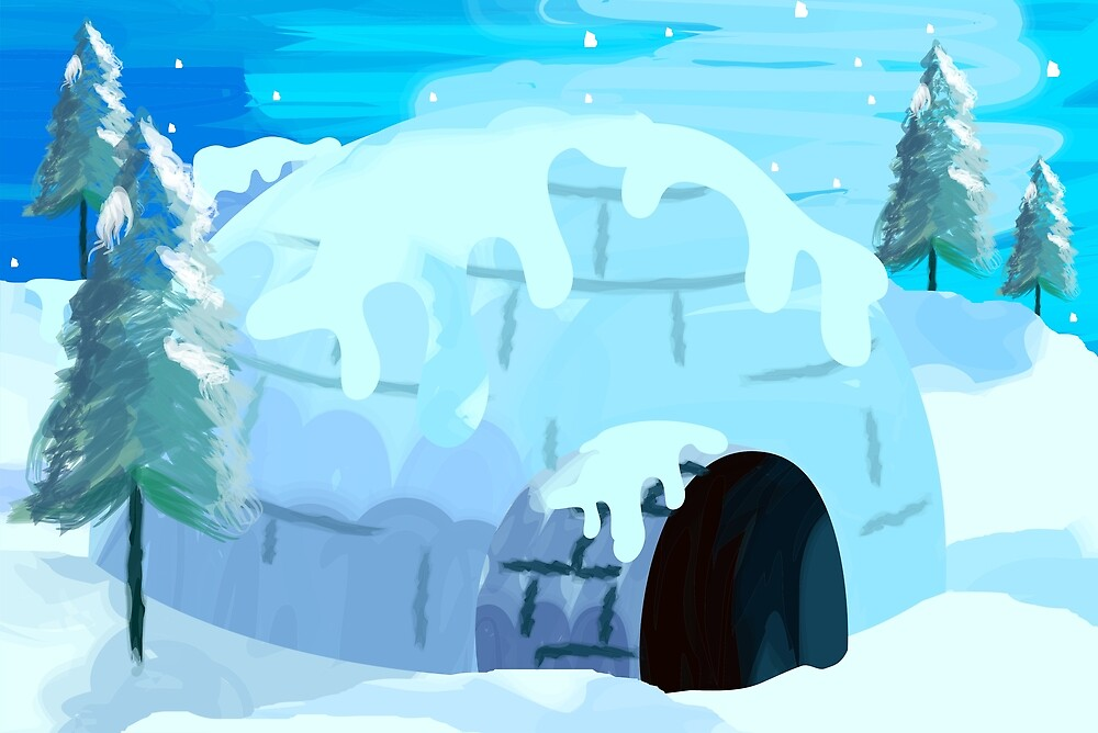 Beauty of igloo house in the snowy evening by tillydesign
