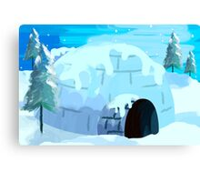 Beauty of igloo house in the snowy evening	 Canvas Print