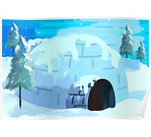 Beauty of igloo house in the snowy evening	 Poster
