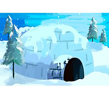 Beauty of igloo house in the snowy evening Photographic Print