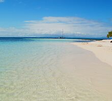 Aqua Waters Lap the Deserted Tropical Belize Island White Sand Beach by HotHibiscus