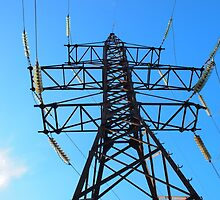 Bottom view of the high-voltage metal tower by vladromensky