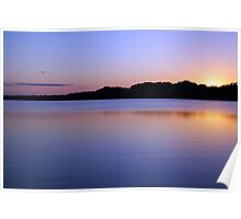 Purple Reflections of Wilderness River Belize Jungle Sunset Poster