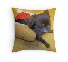 Hot Dog Chihuahua Throw Pillow