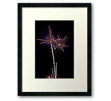 Double Blue and Orange Fireworks Framed Print