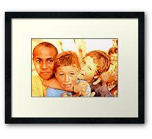 children, minisurfers Framed Print