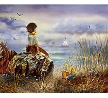 A Girl Sitting On The Rock At The Ocean Photographic Print