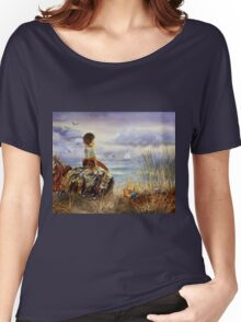 A Girl Sitting On The Rock At The Ocean Women's Relaxed Fit T-Shirt