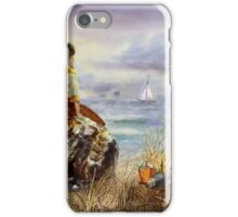 A Girl Sitting On The Rock At The Ocean iPhone Case/Skin