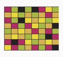 Brightly Neon Colored Squares Pattern One Piece - Short Sleeve