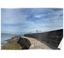 Harbour Wall at Lyme Dorset UK Poster