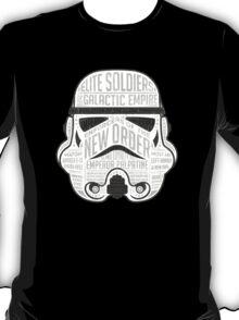Stormtrooper typographic helmet design chock full of trivia! T-Shirt