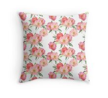 Pretty Pink Garden Flowers Watercolor Throw Pillow