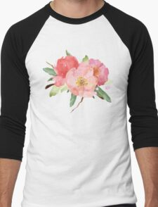 Pretty Pink Garden Flowers Watercolor Men's Baseball ¾ T-Shirt