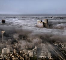 City Skyscrapers Above The Clouds by Ronsho