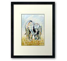 Calf Elephants Framed Print