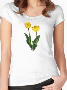 Backlit Yellow Tulips Women's Fitted Scoop T-Shirt