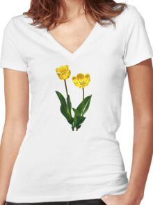 Backlit Yellow Tulips Women's Fitted V-Neck T-Shirt