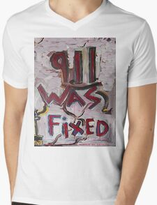 9-11 WAS FIXED WHITE Mens V-Neck T-Shirt