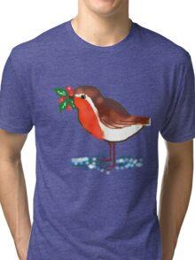 Winter Robin T SHIRT/STICKER/BABY GROW Tri-blend T-Shirt
