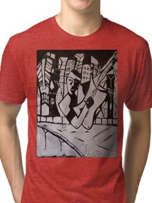 ABSTRACT GUITARIST BLACK AND WHITE Tri-blend T-Shirt