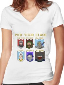 Pick Your Character Class Women's Fitted V-Neck T-Shirt
