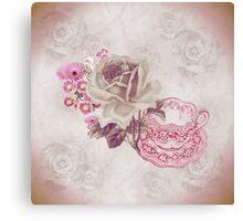 Vintage Pink Teacup & Flowers Canvas Print