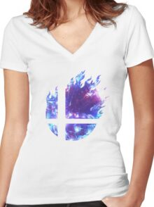 Smash Hype - Blue Women's Fitted V-Neck T-Shirt