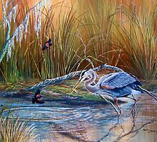 Marsh Madness- Great Blue Heron...Red Winged Black Birds by Daniel Butler