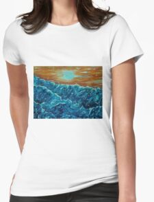 Seabirds among the waves Womens Fitted T-Shirt