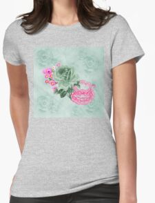 Green & pink Vintage Teacup & Flowers Womens Fitted T-Shirt