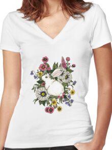 Rabbit in Flowers Women's Fitted V-Neck T-Shirt