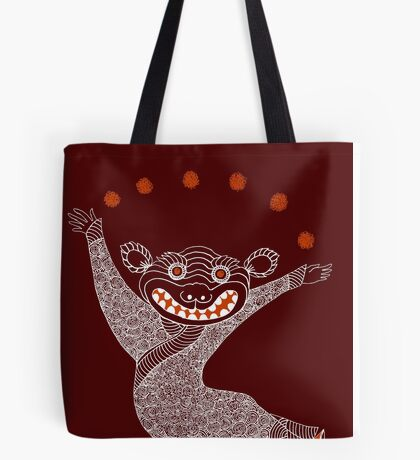 Ghost Tiger Juggler with Red Shoes Tote Bag