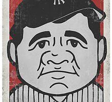 Babe Ruth Caricature by RJCSportsArt